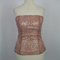 Express Pink Floral Print Lace Back Zip Tube Top M 8/10 Photo