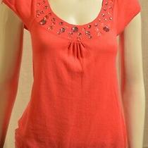 Express Pink Jeweled Short Sleeve Top Size Extra Small Photo