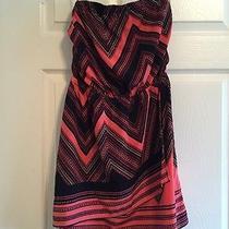 Express Pink Patterned Chevron Strapless Dress Size M Photo