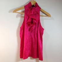 Express Pink Silk Ruffle Trimmed Sleeveless Keyhole Top - Size Small Photo