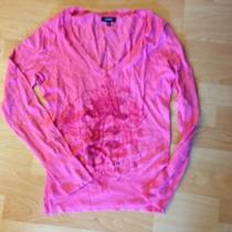 Express Pink v-Neck Sweater Top M Photo