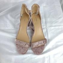 Express Pink Velvet Block Heels 10 Woman Fashion Velour Party Sexy Ankle Strap  Photo