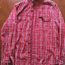 Express Plaid Red Button Up Fitted Xl  Photo
