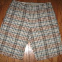 Express Plaid Shorts 34 Mens Flat Front Long Inseam Tan Photo