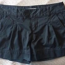 Express Pleated Black Cotton Khaki Cargo Shorts Sz 4 Photo