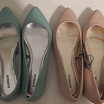 Express Pointed Toe Flats Womens Size 6 Pastel Pink and Mint Shoes Photo