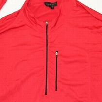 Express Polyester Spandex Red 1/4 Zip Men's Long Sleeve Red Activewear Jacket Photo