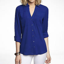 Express Portofino Cobalt Blue Blouse Size Medium Photo