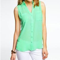 Express Portofino Green Original Fit Button Down Shirt Blouse Top Sleeveless Xs Photo