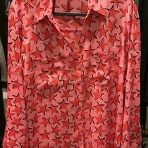 Express Portofino Original Fit Convertible Sleeve Satin Shirt Xl Pink Red Stars Photo