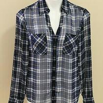Express Portofino Sheer Blue Plaid Long Sleeve W/ Pockets Button Down Top Size S Photo