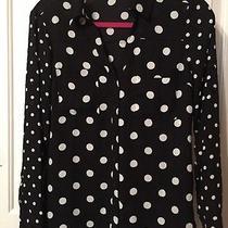 Express Portofino Shirt Black White Polka Dots Size Small S Photo