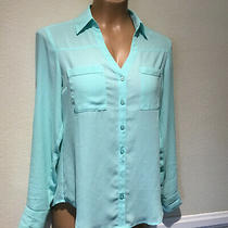 Express Portofino Shirt Mint Green Long Sleeve Button Blouse Women's Sz Xs Photo