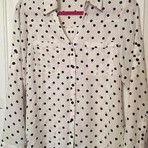 Express Portofino Shirt Top White Black Polka Dots Size Small S Photo