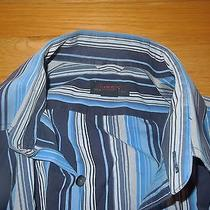 Express Premium Woven Cloth Man Men Dress Casual Shirt Blue Striped L Photo