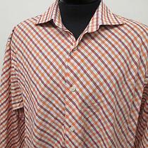 Express Premium Woven Orange Red Check Casual Dress Shirt Sz Xl Mens L/s5104 Photo
