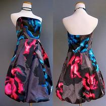 Express Psychedelic Bold Print Op Art Floral Strapless Party Bubble Dress Sz S 6 Photo