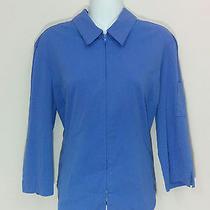 Express Purple-Blue 3/4 Sleeve Zipper Front Shirt Blouse Size 13-14 3727 Photo