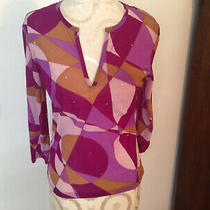 Express Purple Gold Pink Studded Nylon 3/4 Sleeve Sheer Top Size L Photo