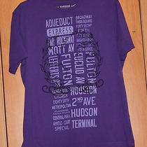 Express Purple Graphic Short Sleeve Cotton T Shirt Size L Photo