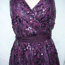 Express Purple Lace & Sequins Embellished Lined Belted Party Dress Size M 128 Photo