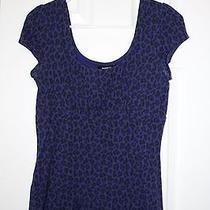 Express Purple Leopard Print Shirt Size S Photo