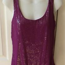 Express Purple Sequin Sleeveless Knit Top Small Photo