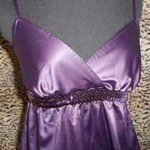 Express Purple Sequin Trim Baby Doll Top Xs  Photo