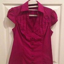 Express Purple Short-Sleeved Button Down Top - Size Small  Photo
