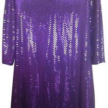 Express Purple Sparkly Dress Long Sleeves M Photo