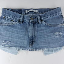 Express Quince Frayed Hem Cut Off Denim Jeans Micro Mini Skirt Womens Sz 8 Sqfc Photo