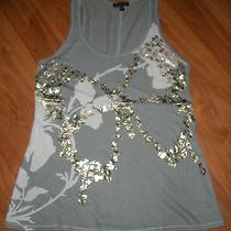 Express Racerback Tank - Gray With White Gold Foil and Sequins Butterfly - Xs Photo