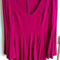 Express Red Bell Sleeve Babydoll Dress Size 6 Vneck Mini Photo