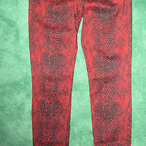Express Red & Black Animal Print Skinny Jeans Size 6 Nwot 30