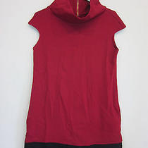 Express Red Black Sleeveless Formal Cocktail Dress Size Medium Cow Neck Stretch Photo
