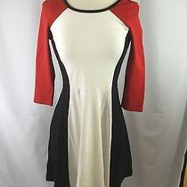 Express Red Black White Block Panel Dress - Size Xs Photo
