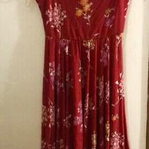 Express Red Floral Strapless Tube Dress Xs Euc Womens Sundress Photo