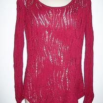 Express Red Long Sleeve Knit Top Rayon Size L Stretch Open Knit (At Photo