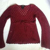 Express Red Maroon Lace Sweater Xs Photo