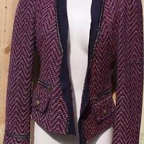 Express Red Navy Blue Tweed Blazer Jacket Sz 2 Gold Zippers Buttons Photo
