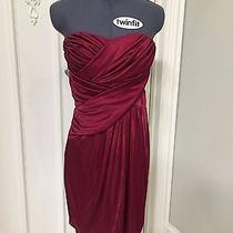 Express Red Ruched Strapless Cocktail Party Holiday Evening Dress Xs Photo