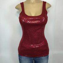 Express Red Sequence Front Tank Top Women's Size M Fitted Sleeveless Knit Tops Photo