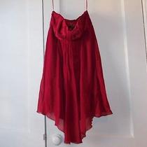 Express Red Short Strapless Dress Size 4 Empire Waist Formal Solid Knee-Length Photo