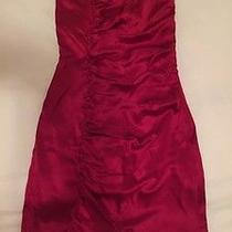 Express Red Silky Strapless Ruffle Dress Size 6 Nwot Photo