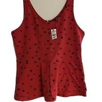 Express Red Star Tank Top - Peplum Style New Size Large Photo