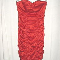 Express Red Strapless Ruched Tube Dress 4 Womens Clubwear Silk Blend Photo