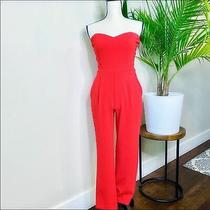 Express Red Strapless Sweetheart Neck Pant Jumpsuit Pockets Size 2 Women's Photo