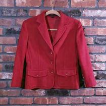 Express Red Wool Blend 3-Button Blazer Jacket Career Workwear Women's Sz 10 Photo