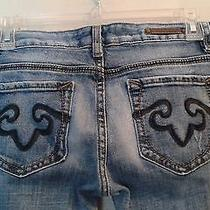 Express Rerock  Distressed Boot Jeans       Size 4r      (Ct002k) Photo