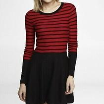 Express Retro Knit Black and Red Stripe Long Sleeve Dress Xs Photo
